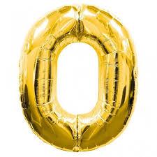 0. szám, fólia lufi, 36 cm, arany