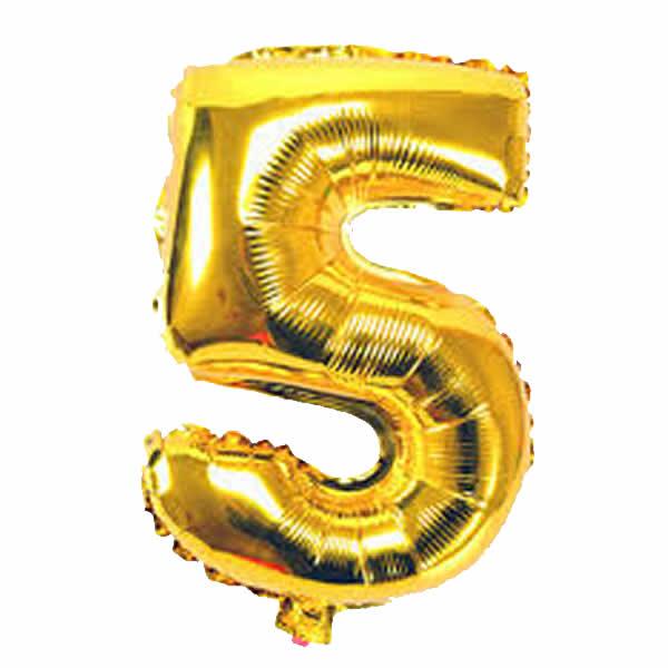 5. szám, fólia lufi, 36 cm, arany