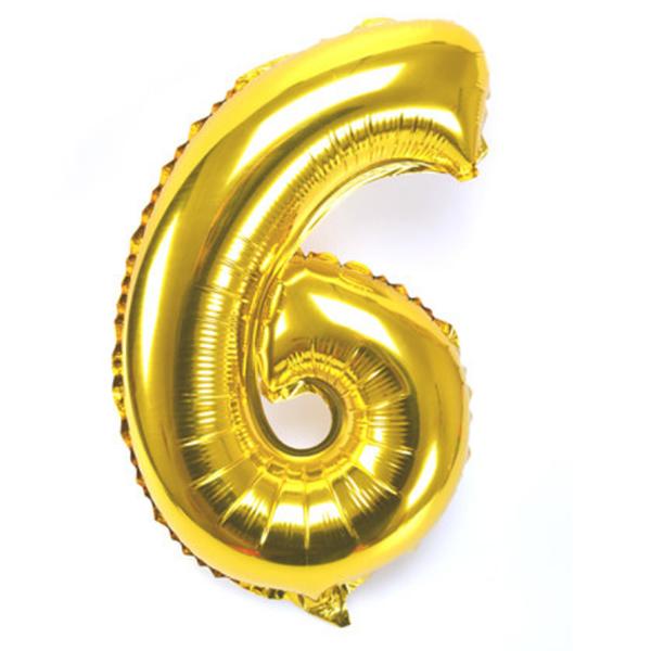 6. szám, fólia lufi, 36 cm, arany