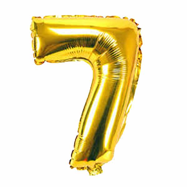 7. szám, fólia lufi, 36 cm, arany