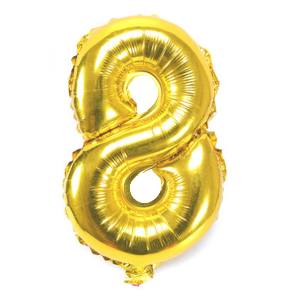 8. szám, fólia lufi, 36 cm, arany