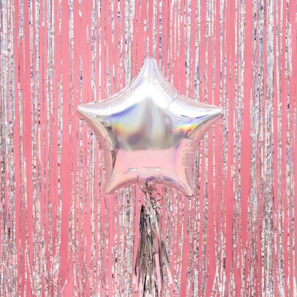 Csillag alakú gyöngyház fólia lufi, 19