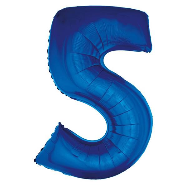 5. szám, fólia lufi, 92 cm, kék