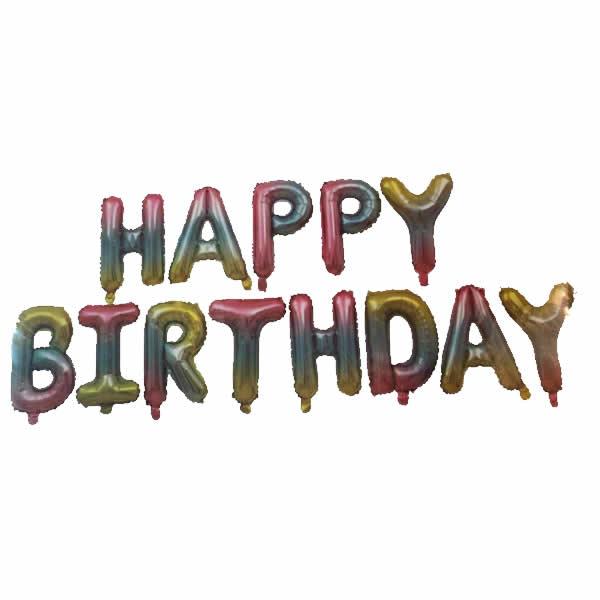 Happy Birthday betűk,  szivárvány, Fólia lufi