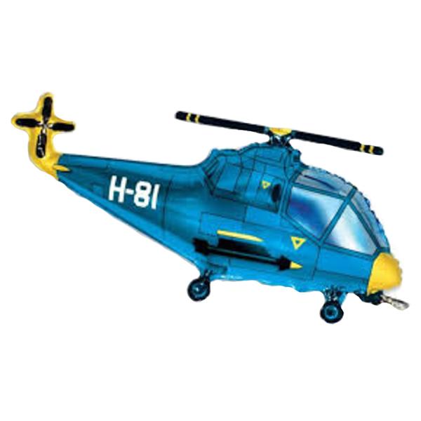 Helikopter, kék, 98cm,  fólia lufi