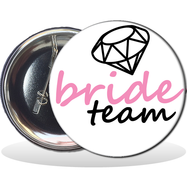 Kitűző, Bride team felirattal, gyémánttal, fehér, 58mm