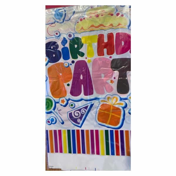 Asztalterítő, happy birthday, fehér, édességes