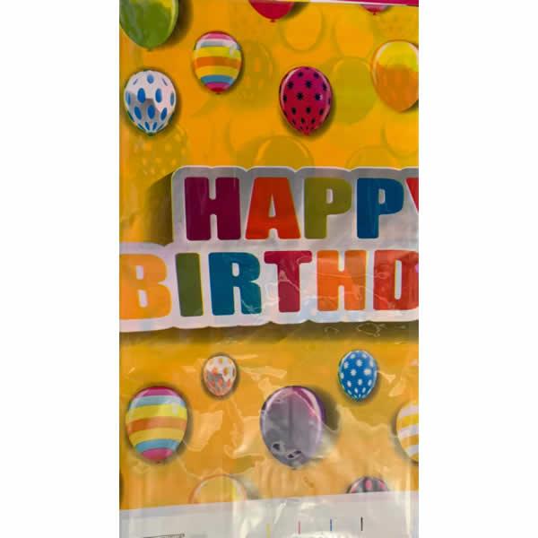 Asztalterítő, happy birthday, sárga. lufis