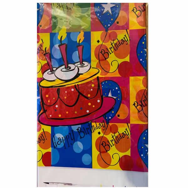 Asztalterítő, happy birthday, színes tortás
