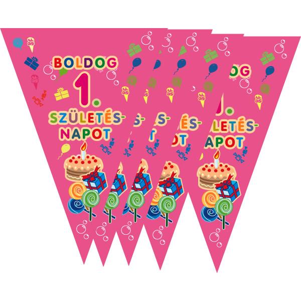 Zászló fűzér, 1. születésnapra, rózsaszín