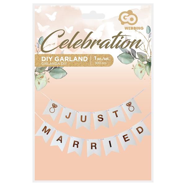 Just Married papír banner, 3 méter