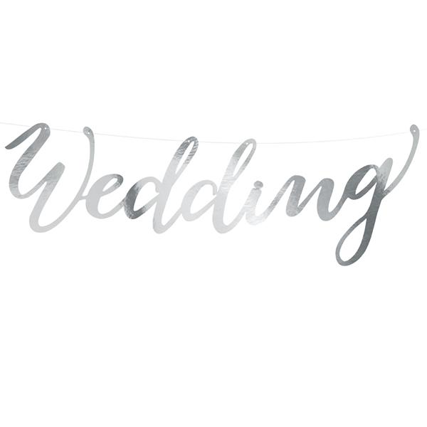 Banner, Wedding, ezüst, 16.5x45 cm