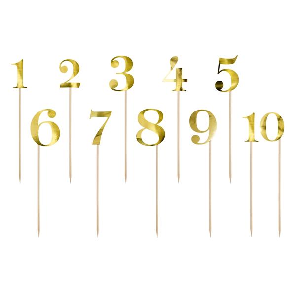 Számok pálcán, fényes arany, 1-10, 28cm
