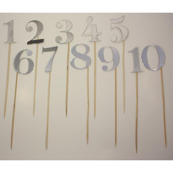Számok pálcán, fényes ezüst, 1-10, 28cm