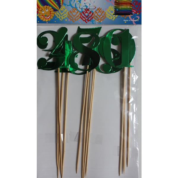 Számok pálcán, fényes zöld, 1-10, 28cm