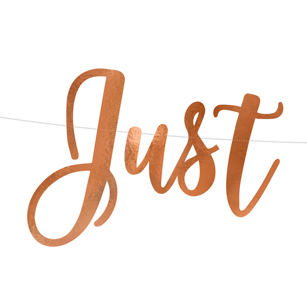 Just Married, rose gold, 20x77 cm, banner