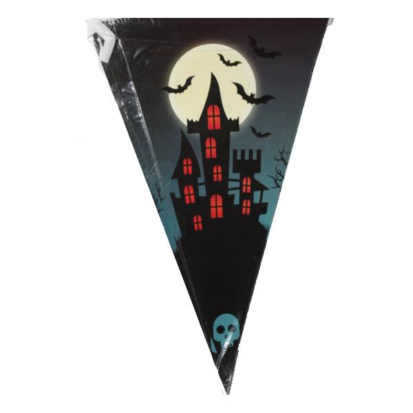 Halloween zászló, kastély-denevér mintával