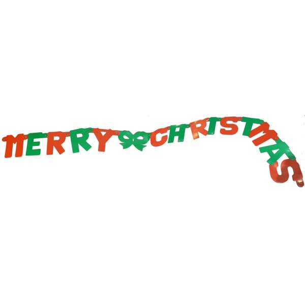 Merry Chrismast fűzér, piros-zöld színben