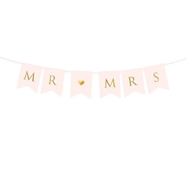 Fűzér Mr Mrs, light pink, 15 x 85 cm