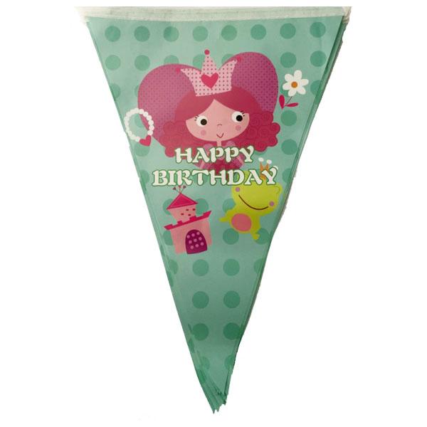 Party zászló, Happy birthday, királylányos