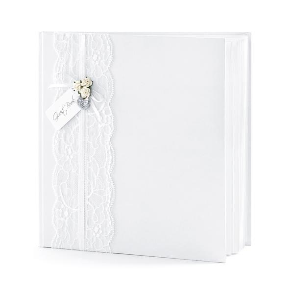 Vendégkönyv 20.5x20.5cm, fehér, 22 lapos