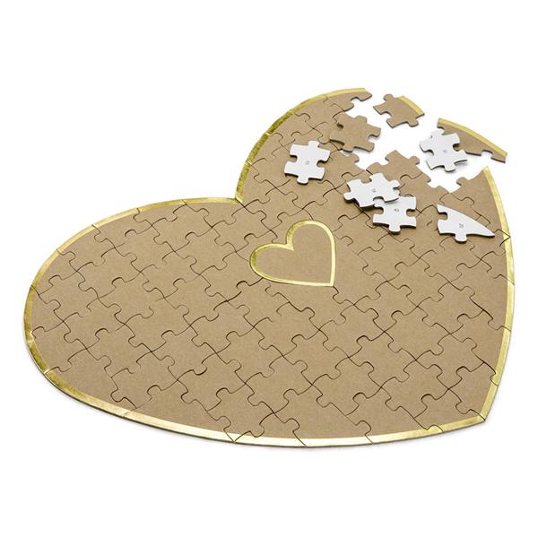 Vendégkönyv, puzzle, szív alakú