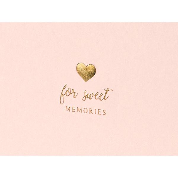 Vendégkönyv, For sweet memories felírattal, púder pink