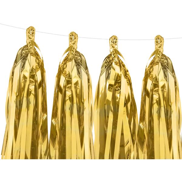 Girland bojtokkal, arany, 1,5 m, 12db