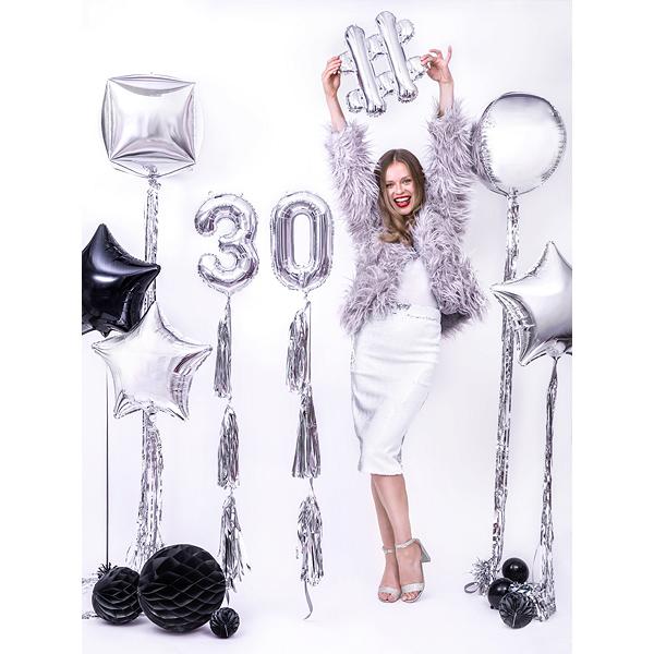 Girland bojtokkal, ezüst, 1,5 m, 12db