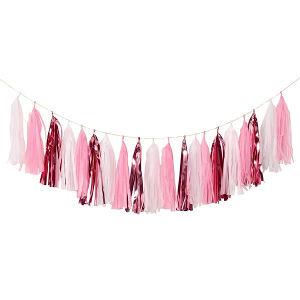 Girland, bébi girl, világos rózsaszín, 2,5 méter