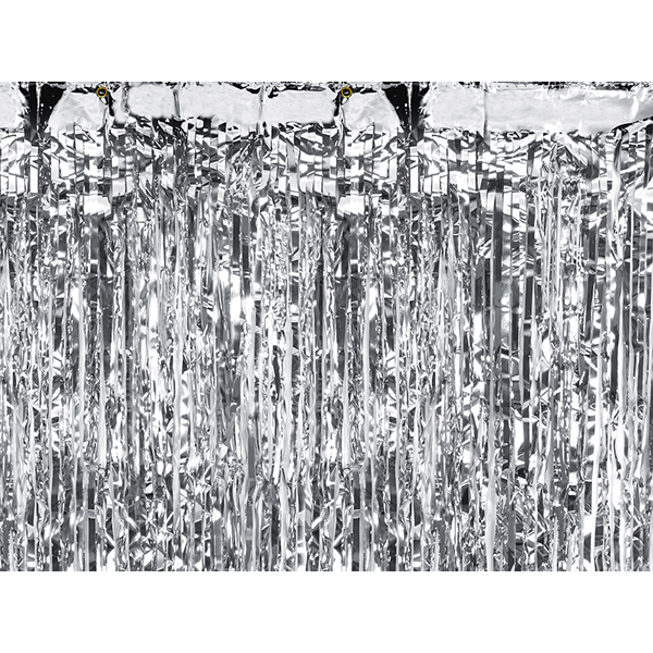 Party függöny, ezüst, 90 X 250 cm