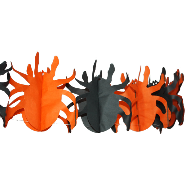 Pók girland, fekete-narancs, 3 m