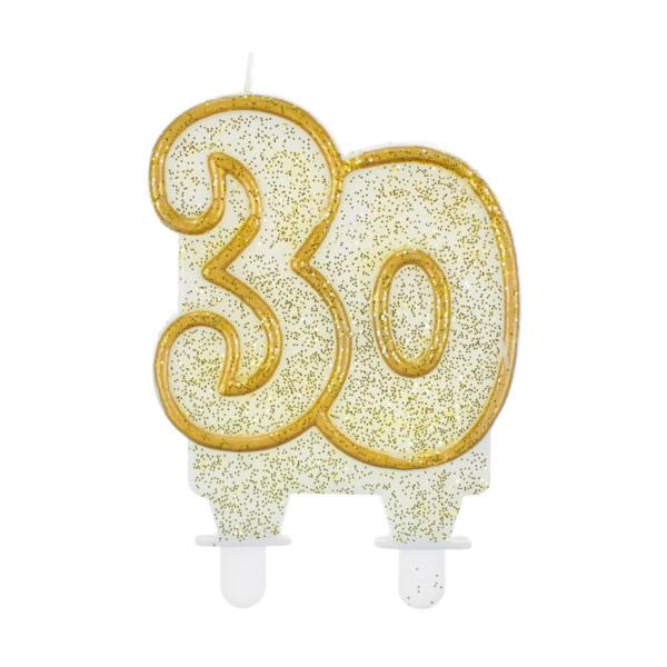 Tortagyertya, 30-as, fehér, arany szegéllyel