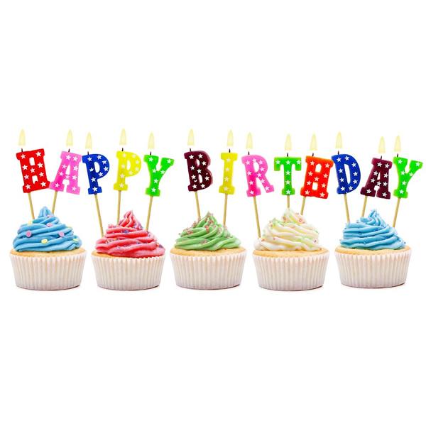 Szülinapi gyertya, csillagos, Happy Birthday betűk