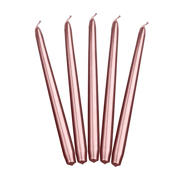 Gyertya, rosegold, hosszúkás, 24cm, 10db/csomag