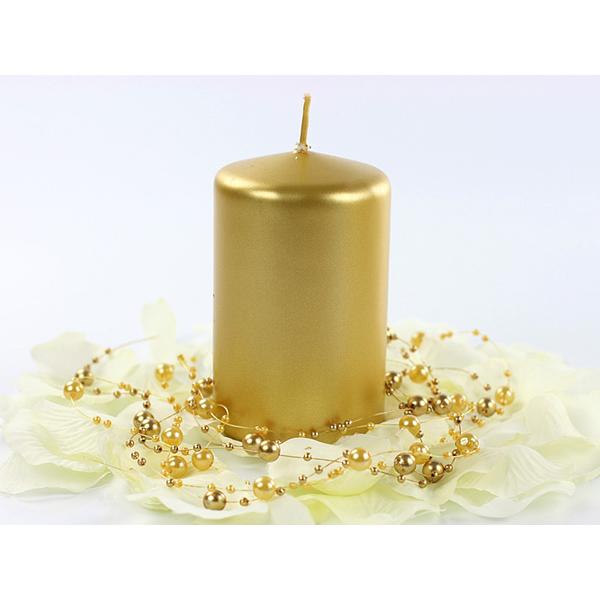 Gyertya, arany metál, tuskó, 10x6.5cm