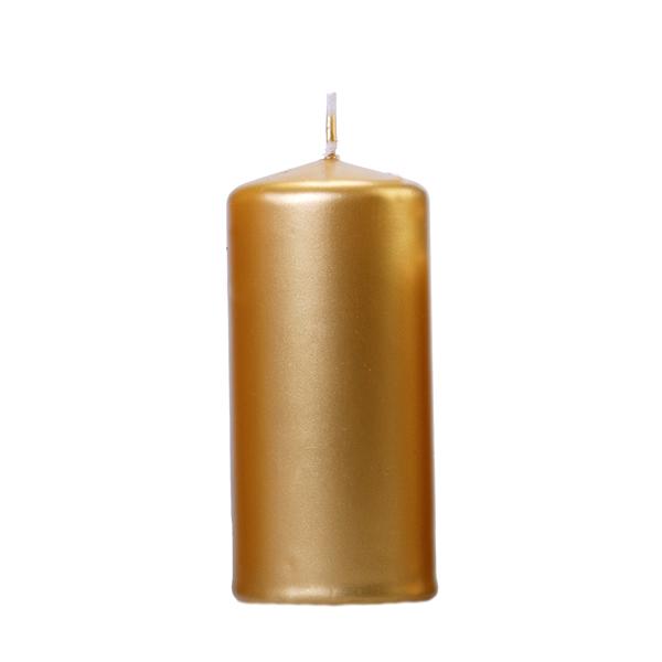 Gyertya, arany metál, tuskó, 12x6cm