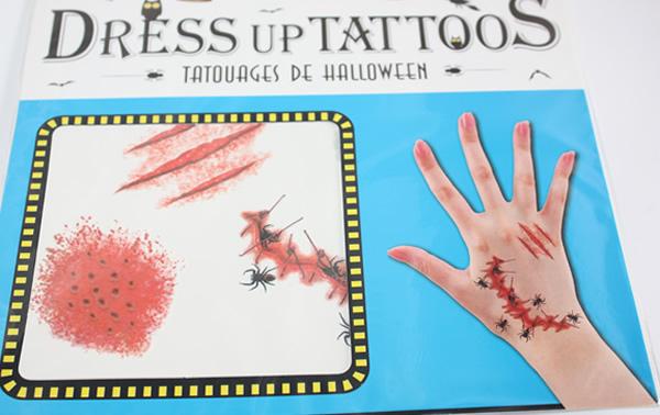 Halloween tetoválás, sebhely, bogarakkal