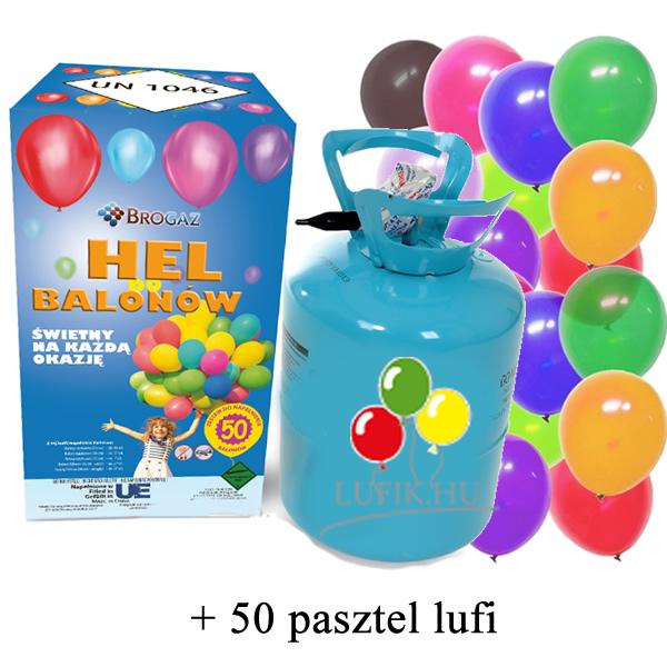 Hélium palack, kék palack, 50 lufihoz, pasztel lufival