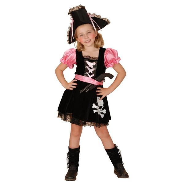 Kalóz lány jelmez, ruha övvel és kalappal 110/120