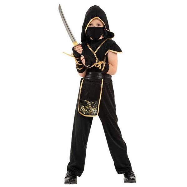 Ninja gyermek jelmez, arany,  XL (130-140 cm)