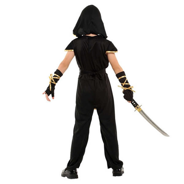 Ninja gyermek jelmez, arany,  L (120-130 cm)