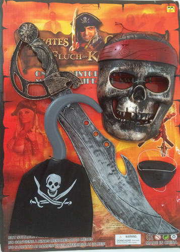 Kalóz szett maszkkal, 4 részes