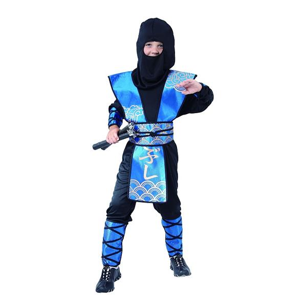 Ninja, kék, gyermek jelmez, 110/120