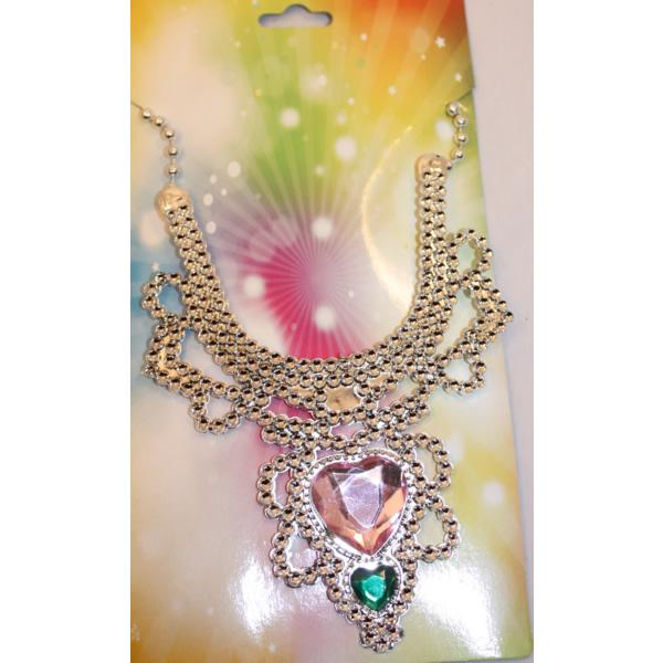 Hercegnő nyaklánc, szíves, színes