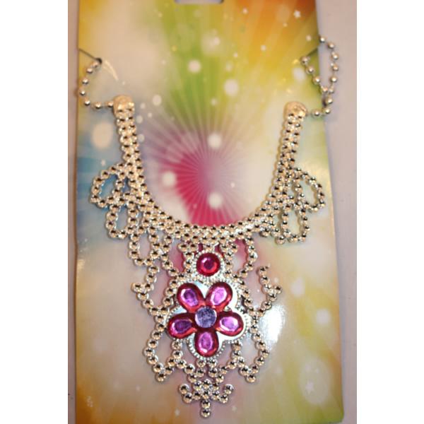 Hercegnő nyaklánc, virágos, magenta