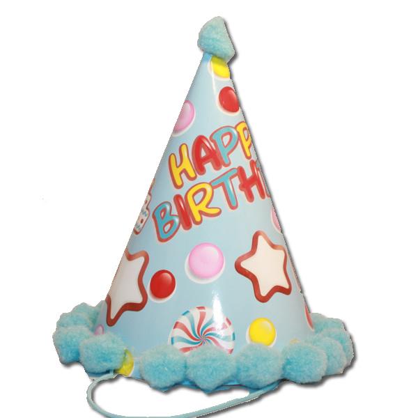 Bogyós parti kalap, birthday kék édességes