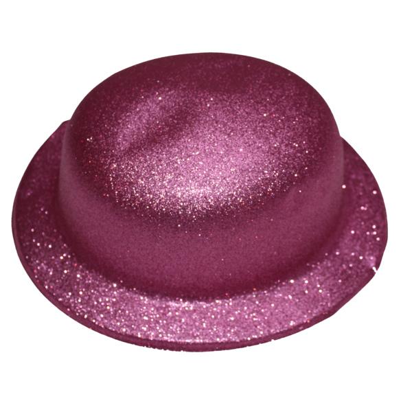 Glitteres Chaplin kalap, rózsaszín
