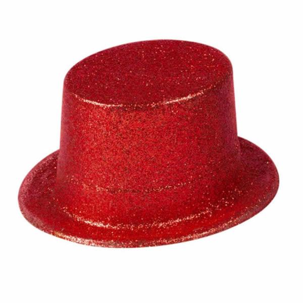 Glitteres cilinder, piros
