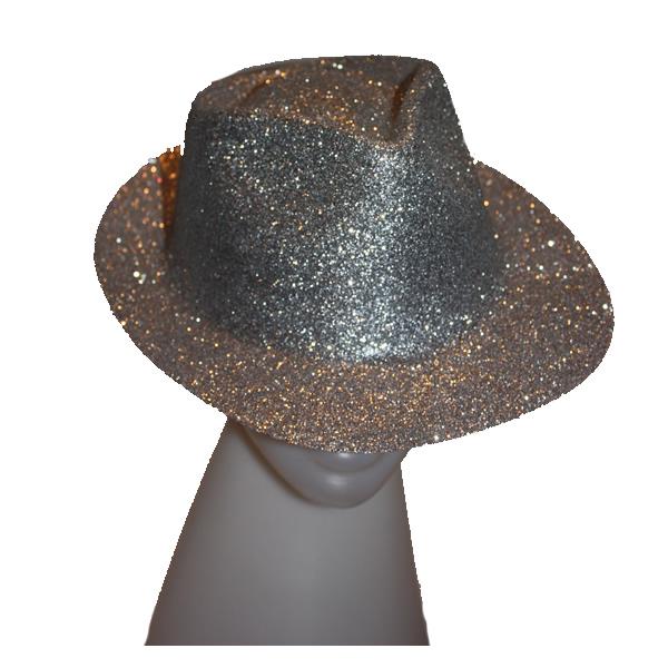 Glitteres úri kalap ezüst színben